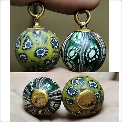 Two pieces old glass mosaic wonderful old pendants   # 11