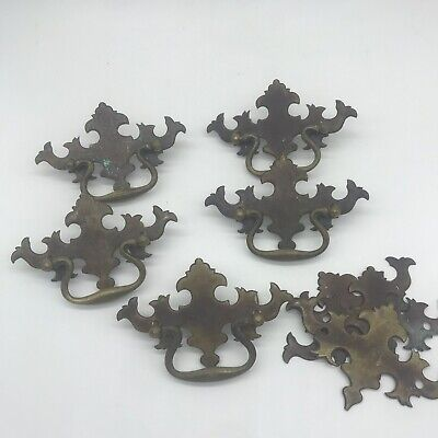 Set Of 5 Gothic Style Antique Drawer Handle Pulls Brass Victorian