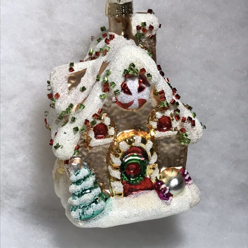 Gingerbread House, Candy SprinkleS Ornament, Christmas Tree Decor, Glass