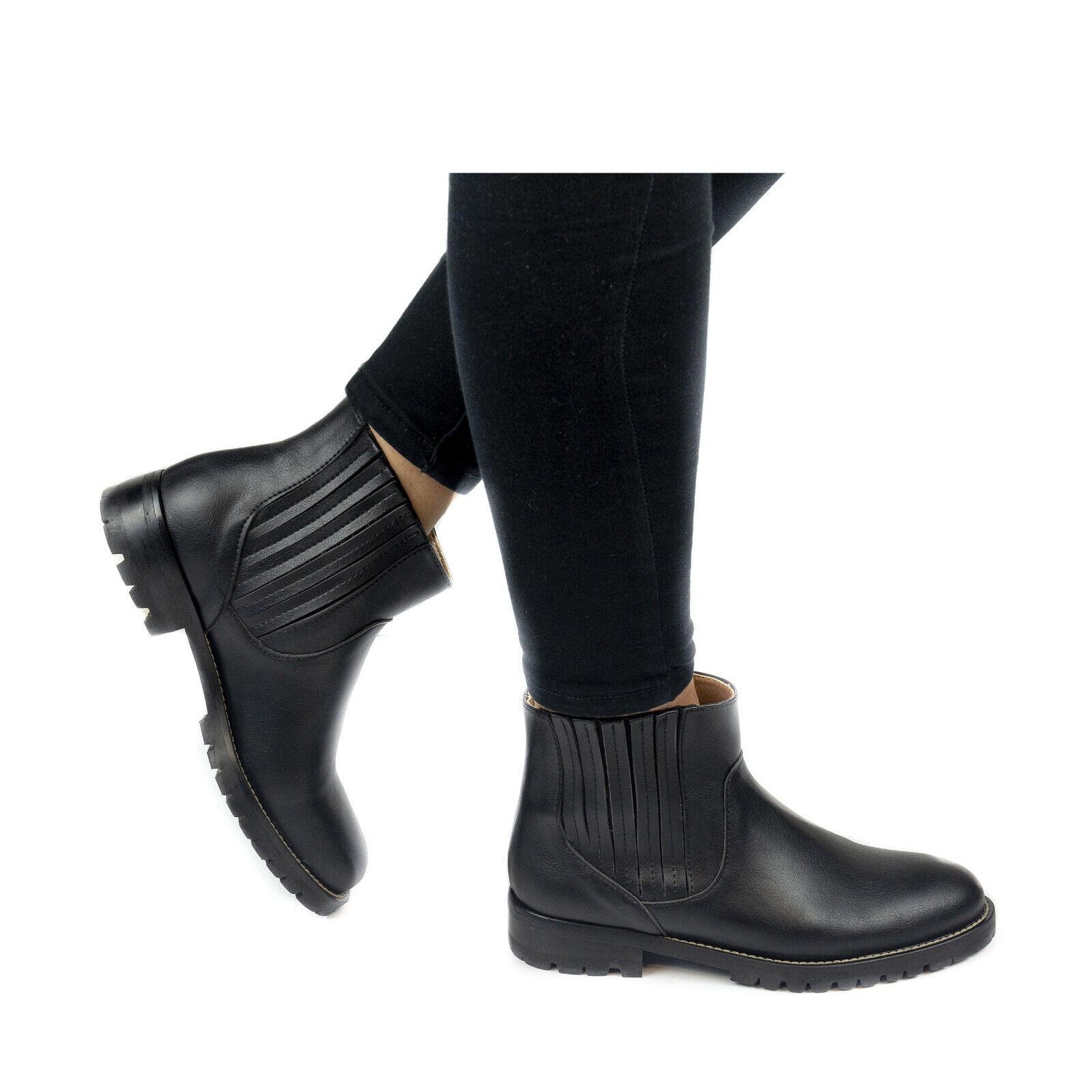 Woman Vegan Ankle Boot Chelsea Round-Toe Flat Heel Anti-Skid Lugged Elastic Side 1