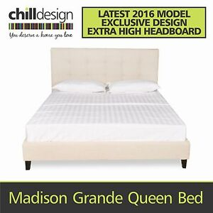 FACTORY DIRECT QUEEN FABRIC UPHOLSTERED BED FRAME TUFTED BEDHEAD Bundall Gold Coast City Preview