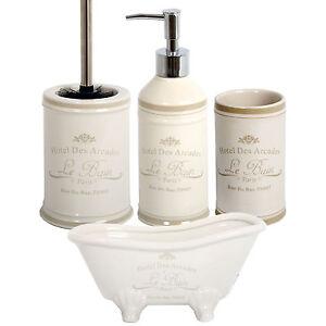 Le bain ceramic bathroom accessory set vintage 4pc tumbler for Dosificador para bano
