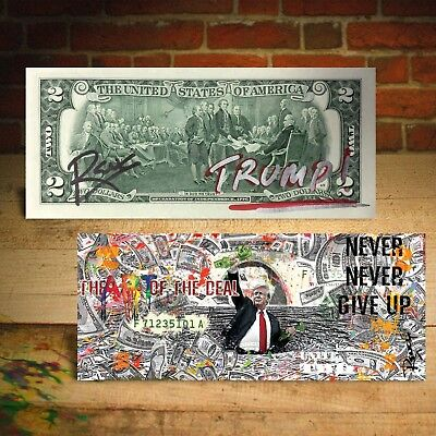 DONALD TRUMP The Art of the Deal Genuine $2 U.S. Bill Pop Art - SIGNED by Rency