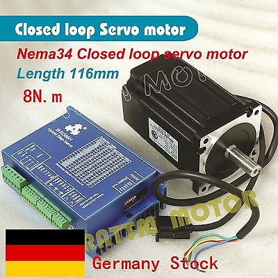 【DE Stock】Nema34 8N.m Servo Motor Closed Loop 6A 116+HSS86 Hybrid Driver CNC Kit