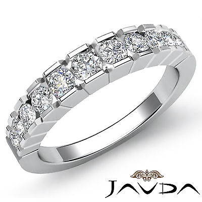 Gold Wedding Band Set - Round Channel Set Diamond Womens Half Wedding Band Ring 14k White Gold 0.65Ct