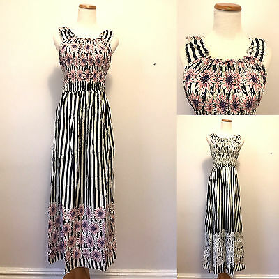 100% Cotton Floral Striped Maxi Dress Scoop Neck Sleeveless Sundress Summer S-XL - Striped Maxi