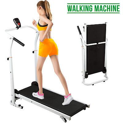 Folding Manual Treadmill Walking Machine Cardio Fitness Running Exercise Incline