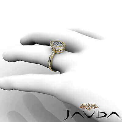 Circa Halo Pave Pear Shape Diamond Engagement Ring GIA Certified G SI1 2.05 Ct 10