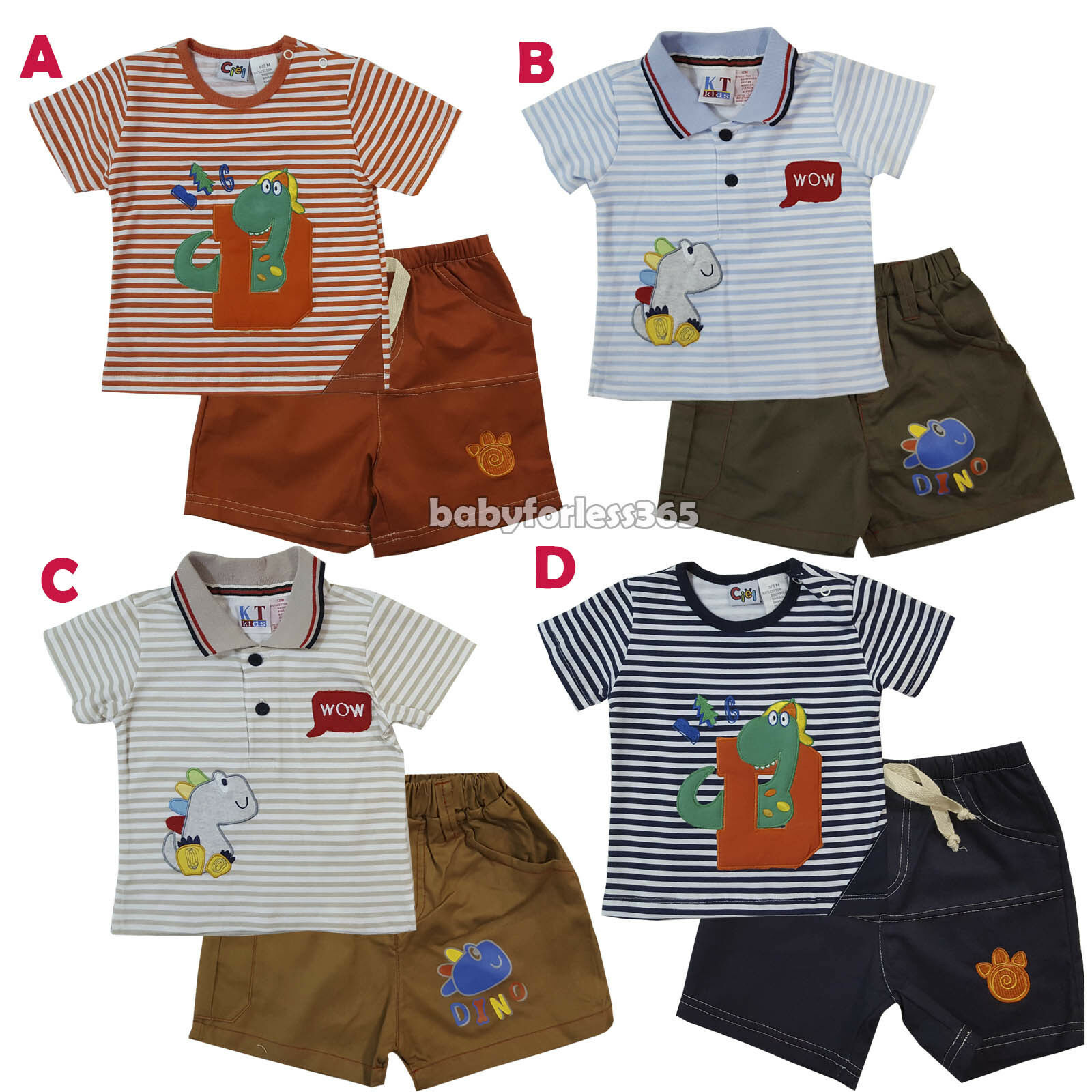 199d5765384b New Baby Boys 2 Pieces set Shirt Top and Pants Size 3 6 9 12 18 24 ...