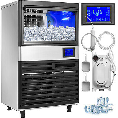 144lbs Commercial Ice Maker Ice Cube Making Machine 65kg 24hrs Stainless Steel