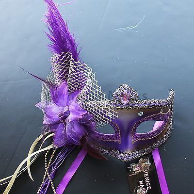 Regal Purple Venetian Masquerade Mask w/Ostrich Feathers Party Prom Mardi Gras - Purple Venetian Mask