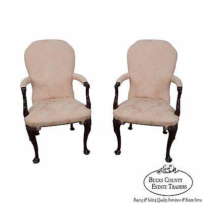 Kindel Pair of Mahogany Irish Georgian Queen Anne Arm Chairs