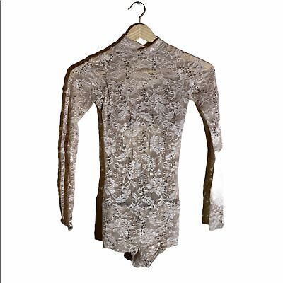 Tan Embellished Lace Dance Costume Size Child XL