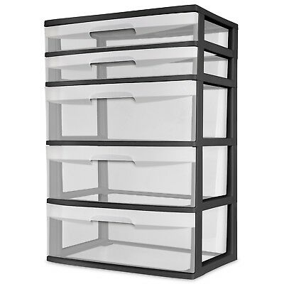 (NEW Wide Tower Storage Sterilite Organizer Cabinet Heavy Clear Plastic 5 Drawer )