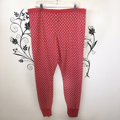 Make + Model Long John Pajama Bottoms Pjs Hearts Xxl Plus Size Long John Pjs