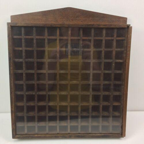 "Sewing Thimble Display Dark Wood Display Case Holds 100 Thimbles 16""x14"" Hanging"
