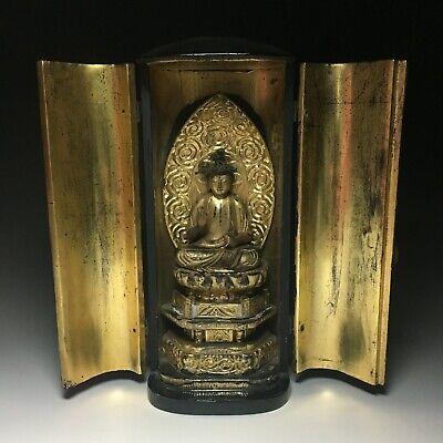 old Japanese Japan,Buddhism Buddha statue kannon,Bodhisattva Zushi box 27cm 政 for sale  Shipping to Canada