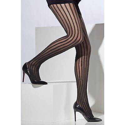 (Black Sheer Tights Burlesque Vertical Stripes Ladies Womens Accessory Hosiery)