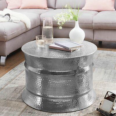 Asiatische Wohnzimmer Beistelltisch (FineBuy Couchtisch Silber Wohnzimmertisch Ø 62 cm Beistelltisch Rund Tisch Alu)