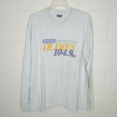 Vintage Men's Size Large T Shirt WKOS Oldies 104.9 FM Radio Station Long