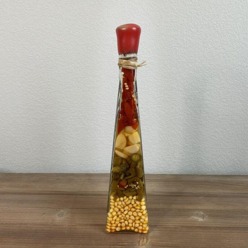 Vintage Chili Pepper Infused Oil Vinegar Glass Bottle Kitchen Home Decor Tall