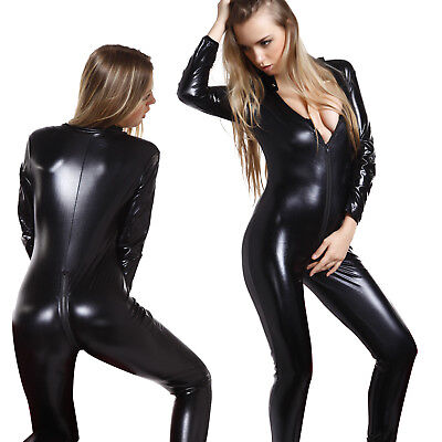 Sexy Ladies Black Faux Leather Wet Look Catsuit Bodysuit Catwoman Cat - Cat Bodysuit Costume