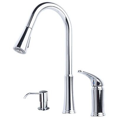 Contemporary Pull-Down Kitchen Faucet with Soap Dispenser Chrome Finish