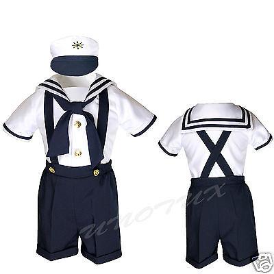 SAILOR SHORTS SUIT FOR INFANT, TODDLER & BOY NAVY OUTFITS size S,M,L,XL,2T,3T,4T (Male Sailor Outfit)