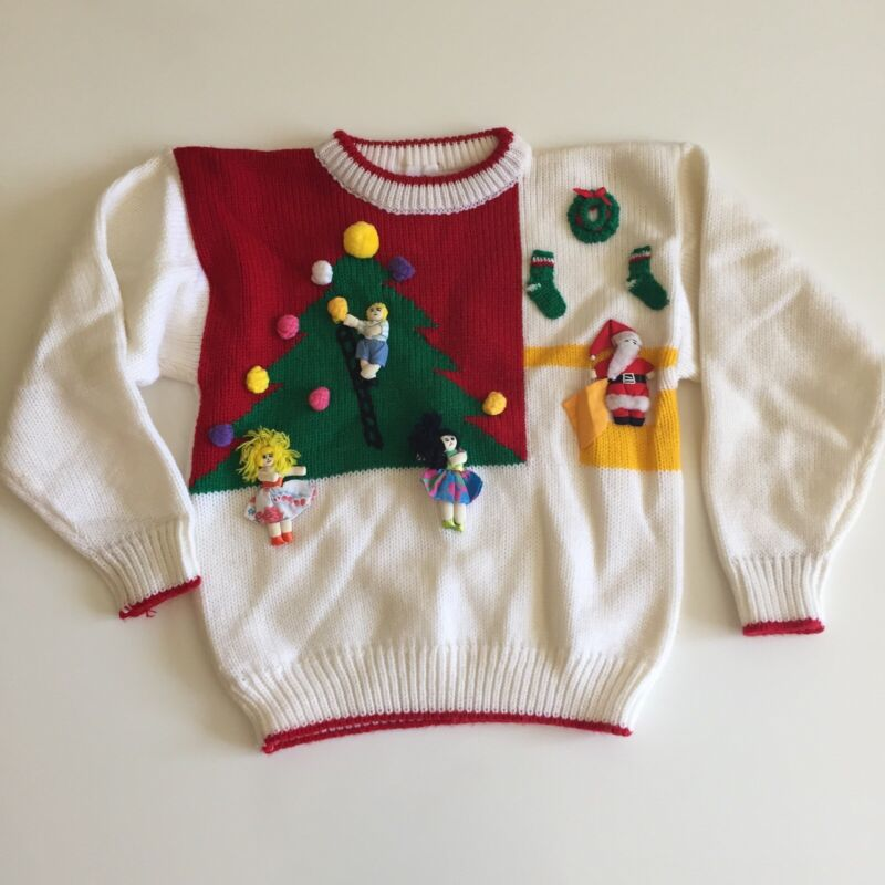 Sweater Kids Children Vintage Kawaii Acrylic Red Santa White 80s Christmas 6 7