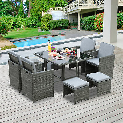 Garden Furniture - 9pc Outdoor Patio Furniture Garden Wicker Dining Set Rattan Table Cushioned Seat