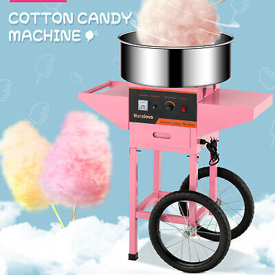 Cotton Candy Machine Electric Commercial Candy Floss Maker With Cart 20 Pink
