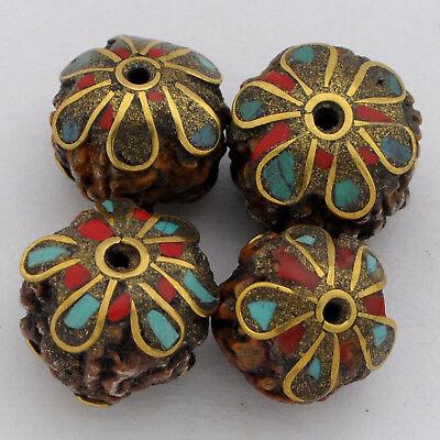 Turquoise Coral Rudraksha Brass 4 Beads Tibetan Nepalese Handmade Nepal UB2578