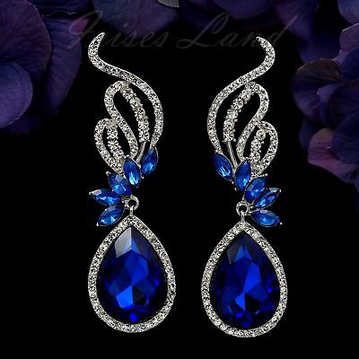 Pearl Rhodium Plated Earrings - Rhodium Plated Blue Crystal Rhinestone Chandelier Drop Dangle Earrings 8780 Prom