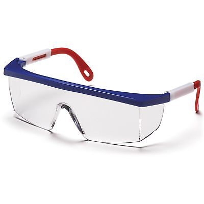 Pyramex Integra Safety Glasses With Clear Lens And Red White And Blue Frame