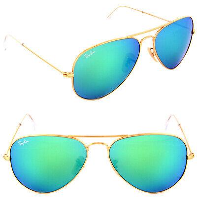 Ray Ban Aviator Sonnenbrille RB 3025 112/19 55mm Matt Gold W / Grau Grün Spiegel
