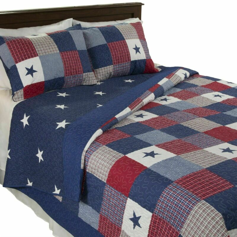 All American Quilted Blanket Red White Blue Bedspread Twin Queen King