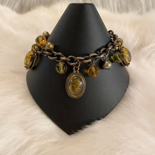 Vintage Cookie Lee Cabochon Bracelet Brass Tone Metal Beaded Signed 6072