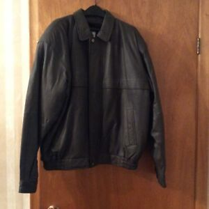 Men's Leather Jacket with Removable Liner - Size 44