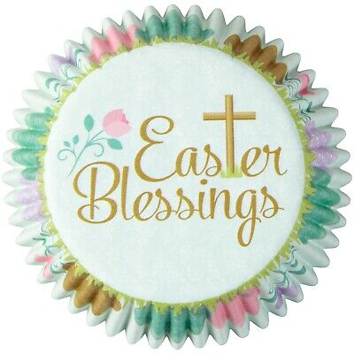 1 pack 50 count  Wilton paper baking cups Easter blessings themed Sunday school ()