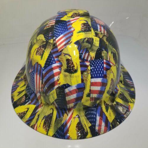 FULL BRIM Hard Hat custom hydro dipped , NEW DON'T TREAD ON ME , USA FLAG