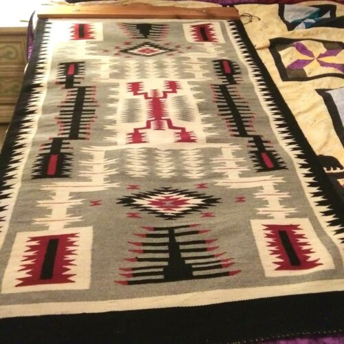 """NAVAJO RUG STORM PATTERN 62"""" X 35"""" CUSTOM HANGER """"STORM~WITHIN~A~STORM"""" 100%WOOL"""