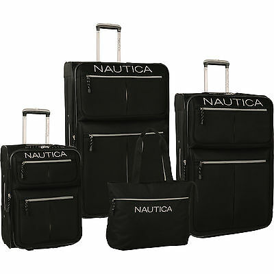 NAUTICA MARITIME II BLACK SILVER EXPANDABLE 4 PIECE LUGGAGE SET $880 VALUE