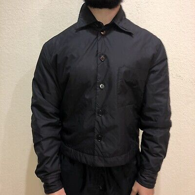 DIRK BIKKEMBERGS Hommes Made In Italy Black Nylon Button Up Collar Jacket Large