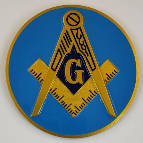 Auto Emblem Square & Compasses Aluminum Masonic Freemason Mason