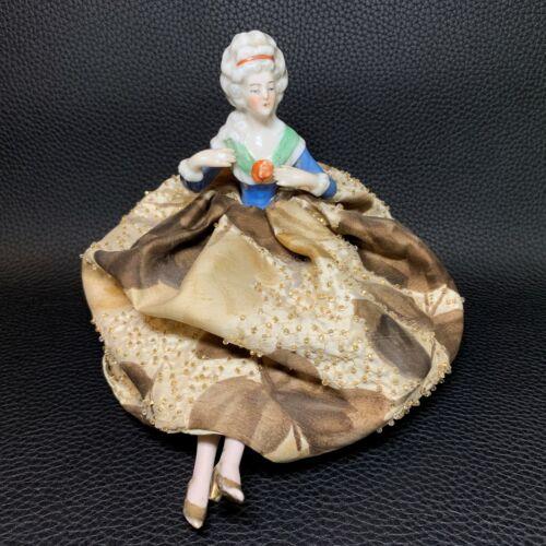 Porcelain Half Doll Pincushion Dresser Doll, Victorian Inspired Boudoir Doll