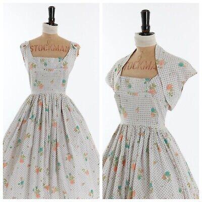 Vintage original 1950s 50s Horrockses floral rose print cotton novelty dress 8