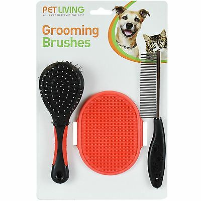 Pet Grooming Set  For Dog Cat  Double Sided Brush Flea Comb Rubber Mitt