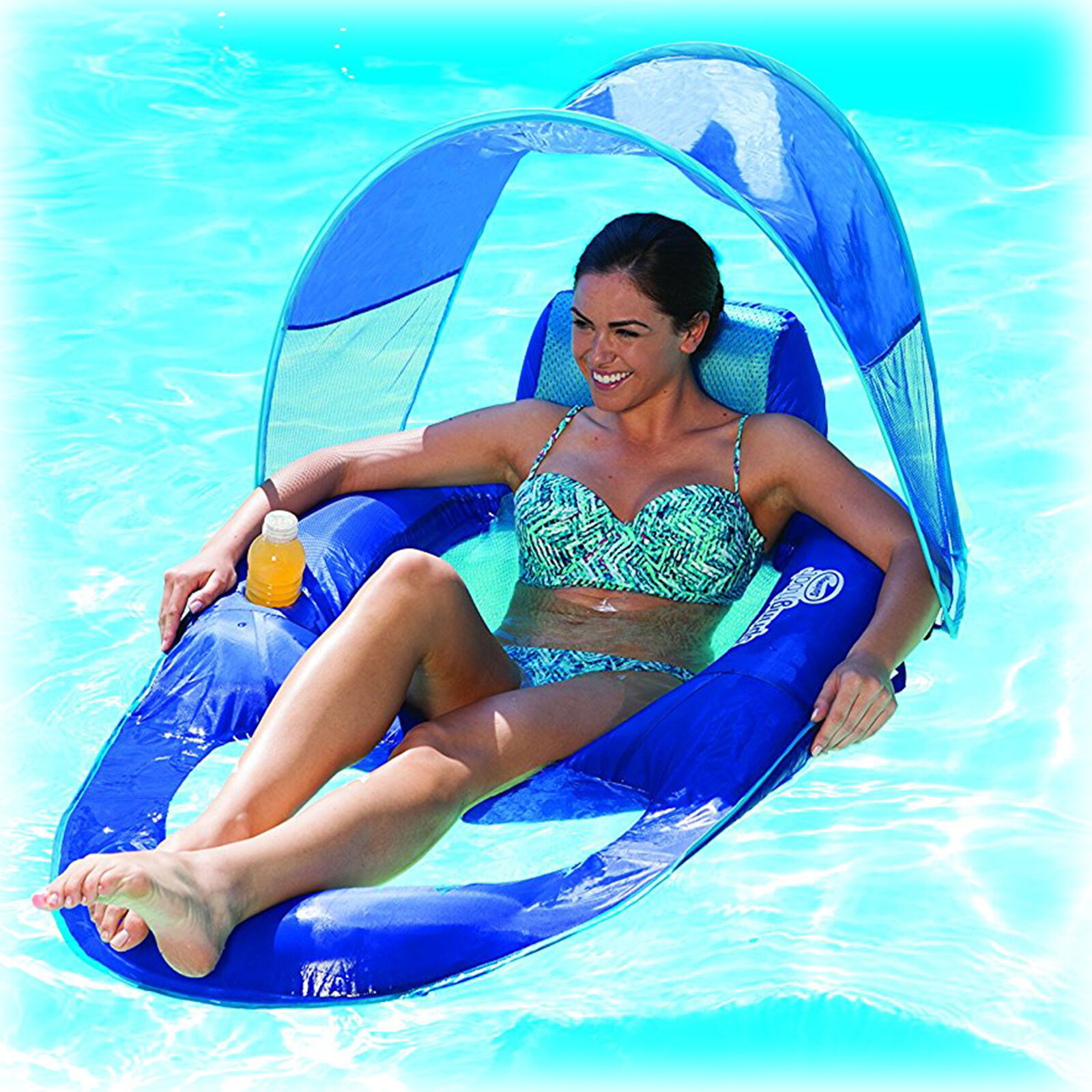 Pool Chair Canopy Float Inflatable Lounge Raft Swimming Recl