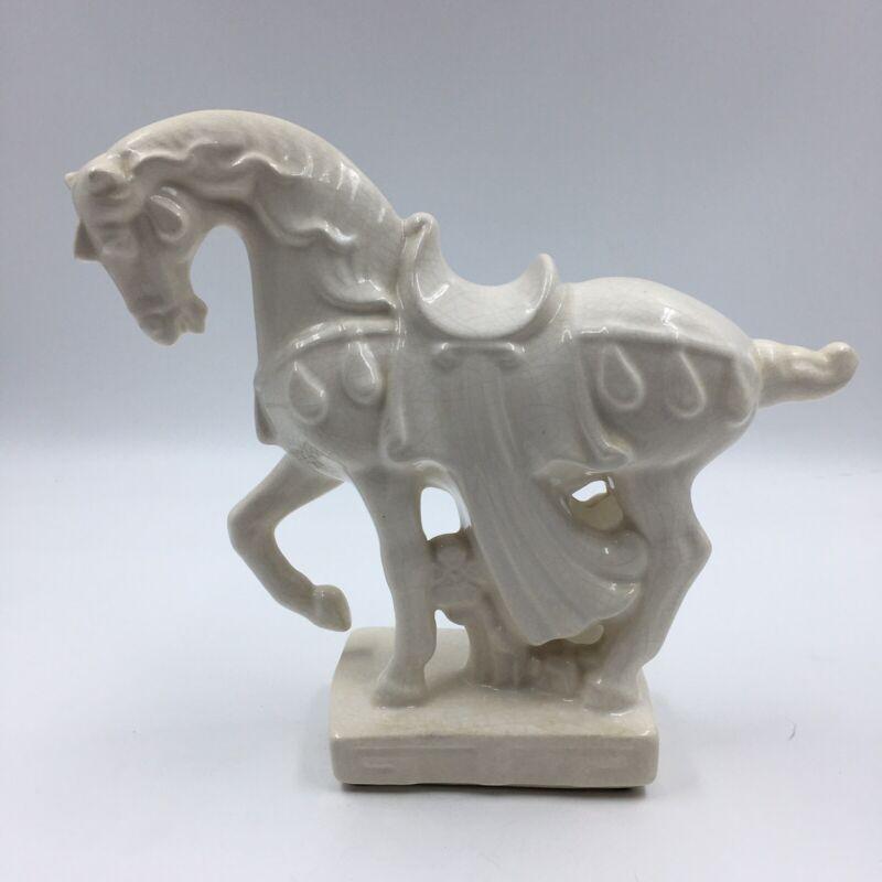 "Vtg White Ceramic Glazed Horse Statue Prancing Trojan War Crackle 9.5"" tall"