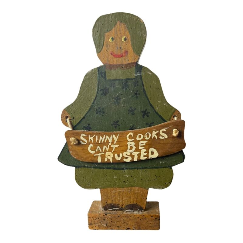 FOLK ART BLACK AMERICANA WOOD WOODEN KITCHEN SKINNY COOKS CAN'T BE TRUSTED